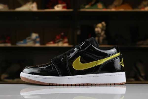"Men' s and Women' s Air Jordan 1 Low ""Patent Leather"" Black/Gold-White-Gum 554723-032"