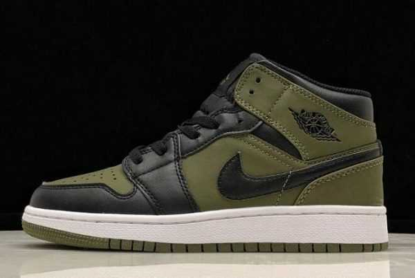 Air Jordan 1 Mid GS Olive Canvas/Black-White Girls Size 554725-301